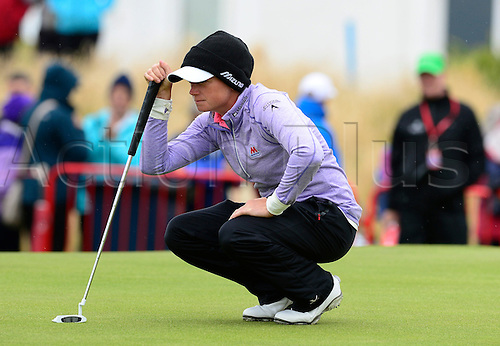 31.07.2015. Turnberry, Scotland. Ricoh Womens British Open Golf Round 2. Stacy Lewis on the 18th green , on a cool day on the course.