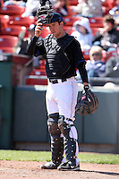 April 19, 2010:  Catcher Josh Thole of the Buffalo Bisons in the field during a game at Coca-Cola Field in Buffalo, New York.  The Bisons are the Triple-A International League affiliate of the New York Mets.  Photo By Mike Janes/Four Seam Images