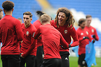 Mathew Smith (left) and Ethan Ampadu (right) of Wales joke around during the Wales Training Session at the Cardiff City Stadium in Cardiff, Wales, UK. Thursday 15 November 2018