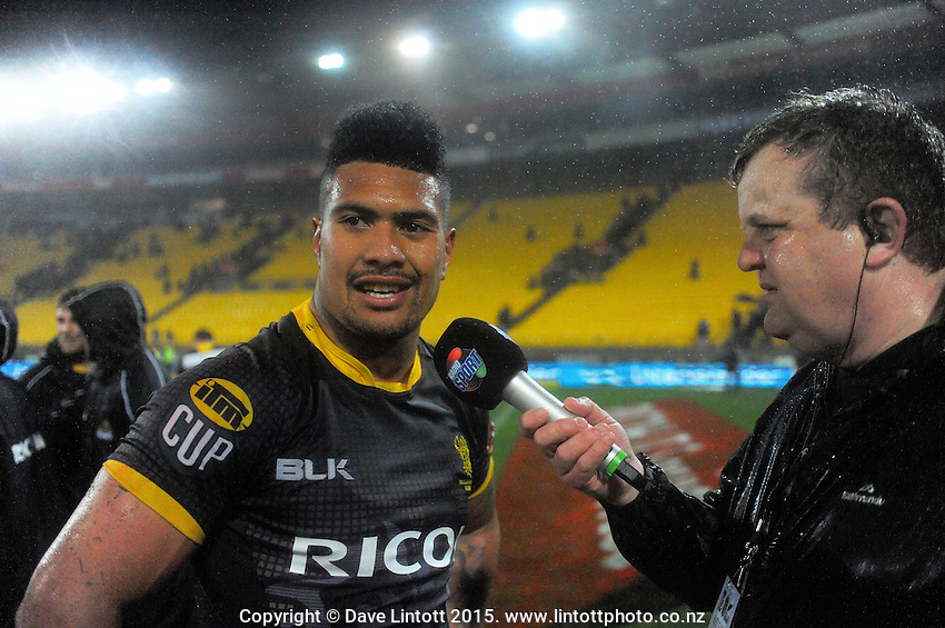 RadioSport's Matt Buck interviews Ardie Savea after the ITM Cup rugby union match between Wellington Lions and Northland at Westpac Stadium, Wellington, New Zealand on Saturday, 29 August 2015. Photo: Dave Lintott / lintottphoto.co.nz