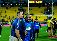 Blues coach Leon McDonald with prop Karl Tu'Inukuafe the Super Rugby match between the Hurricanes and Blues at Sky Stadium in Wellington, New Zealand on Saturday, 7 March 2020. Photo: Dave Lintott / lintottphoto.co.nz