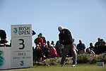 Johan Edfors teeing up his ball on the third tee at the final round at the 3 Irish open in Co Louth Golf Club...Photo: Fran Caffrey/www.golffile.ie..