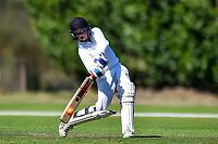 A Huntley batter during the National Primary School Cup Final between Medbury School v Huntley School at the Bert Sutcliffe Oval, Lincoln University, Christchurch, New Zealand. Wednesday 22 November 2017. Photo: John Davidson/www.bwmedia.co.nz