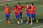 Spanish Vitolo, Diego Costa, Nolito, Marc Bartra and Sergio Busquets during the first training of the concentration of Spanish football team at Ciudad del Futbol de Las Rozas before the qualifying for the Russia world cup in 2017 August 29, 2016. (ALTERPHOTOS/Rodrigo Jimenez)