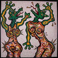 Dancing Dogs II. Acrylic on board. 4' X 4'. 2001.