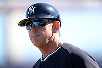 Coach Rob Thomson (59) of the New York Yankees during a spring training game against the Philadelphia Phillies on March 1, 2014 at Steinbrenner Field in Tampa, Florida.  New York defeated Philadelphia 4-0.  (Mike Janes/Four Seam Images)