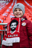 Young Liverpool fan Oliver Smith celebrates his 7th Birthday wearing a Mo Salah scarf<br /> <br /> Photographer Richard Martin-Roberts/CameraSport<br /> <br /> The Premier League - Liverpool v Chelsea - Sunday 14th April 2019 - Anfield - Liverpool<br /> <br /> World Copyright © 2019 CameraSport. All rights reserved. 43 Linden Ave. Countesthorpe. Leicester. England. LE8 5PG - Tel: +44 (0) 116 277 4147 - admin@camerasport.com - www.camerasport.com