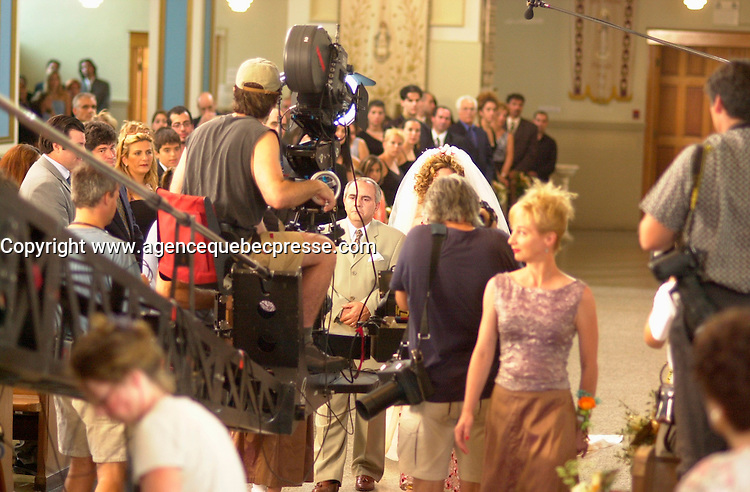 August 11 , 2002, Montreal, Quebec, Canada<br /> <br /> Shooting of MAMBO ITALIANO, near Montreal, Canada, august11 2002<br /> <br /> <br /> <br /> Other actors in the serie Written by Luc Dionne<br /> Directed by Richard Roy include :<br /> .Michael Ironside (Bob Durrelle), Marina Orsini (Karen Durelle), C&Egrave;line Bonnier (Wendy Desbiens), Michel Forget (Bill Guenette)<br /> <br /> <br /> <br /> <br /> <br /> Mandatory Credit: Photo by Pierre Roussel- Images Distribution. (&copy;) Copyright 2002 by Pierre Roussel <br /> <br /> NOTE Nikon D-1 jpeg opened with Qimage icc profile, saved in Adobe 1998 RGB.