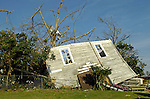 In a scene remenescent of the Wizard of Oz, home in Enterprise was damaged by the tornado.  Enterprise. AL was hit by a tornado March1, 2007.  Bob Gathany photo.