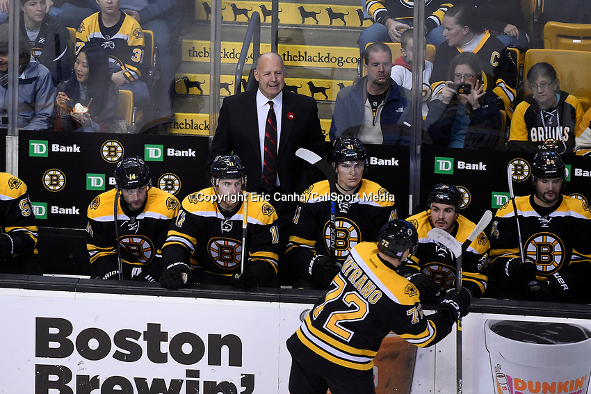 Thursday, November 12, 2015: Boston Bruins head coach Claude Julien watches game action during the National Hockey League game between the Colorado Avalanche and the Boston Bruins held at TD Garden, in Boston, Massachusetts. Colorado defeats Boston 3-2 in regulation time. Eric Canha/CSM