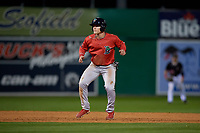 Lowell Spinners Nick Decker (21) leads off second base during a NY-Penn League Semifinal Playoff game against the Batavia Muckdogs on September 4, 2019 at Dwyer Stadium in Batavia, New York.  Batavia defeated Lowell 4-1.  (Mike Janes/Four Seam Images)