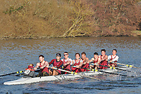 158 SEN.8+ Oxford Brookes Univ C..Reading University Boat Club Head of the River 2012. Eights only. 4.6Km downstream on the Thames form Dreadnaught Reach and Pipers Island, Reading. Saturday 25 February 2012.