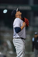 Kane County Cougars relief pitcher Chester Pimentel (40) celebrates a victory after a Midwest League game against the Fort Wayne TinCaps at Parkview Field on April 30, 2019 in Fort Wayne, Indiana. Kane County defeated Fort Wayne 7-4. (Zachary Lucy/Four Seam Images)