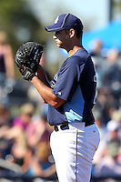 Tampa Bay Rays pitcher Matt Tora #76 gets ready to deliver a pitch during a spring training game against the Baltimore Orioles at the Charlotte County Sports Park on March 5, 2012 in Port Charlotte, Florida.  (Mike Janes/Four Seam Images)