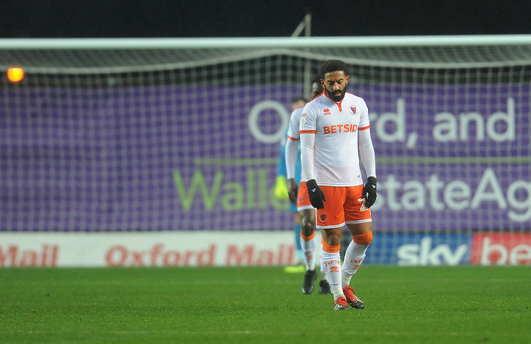 Blackpool's Liam Feeney looks dejected after Oxford United's Marcus Browne (not in picture) scores his side's first goal  <br /> <br /> Photographer Kevin Barnes/CameraSport<br /> <br /> The EFL Sky Bet League One - Oxford United v Blackpool - Saturday 15th December 2018 - Kassam Stadium - Oxford<br /> <br /> World Copyright © 2018 CameraSport. All rights reserved. 43 Linden Ave. Countesthorpe. Leicester. England. LE8 5PG - Tel: +44 (0) 116 277 4147 - admin@camerasport.com - www.camerasport.com