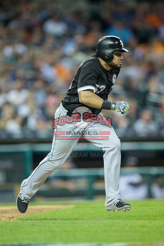 Melky Cabrera (53) of the Chicago White Sox hustles down the first base line against the Detroit Tigers at Comerica Park on June 2, 2017 in Detroit, Michigan.  The Tigers defeated the White Sox 15-5.  (Brian Westerholt/Four Seam Images)