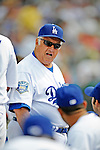 12 March 2008: Los Angeles Dodgers' interim manager Tommy Lasorda instructs players in the dugout at a Spring Training game between the Washington Nationals and the LA Dodgers at Holman Stadium, in Vero Beach, Florida. Lasorda is replacing manager Joe Torre who is traveling to China with a group of Dodger players for an exhibition series of games. The Nationals defeated the Dodgers 10-4 at the historic Dodgertown ballpark. 2008 marks the final season of Spring Training at Dodgertown for the Dodgers, as the team will move to new training facilities in Arizona starting in 2009 after 60 years in Florida...Mandatory Photo Credit: Ed Wolfstein Photo