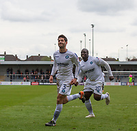 Joe Jacobson of Wycombe Wanderers celebrates his goal followed by Adebayo Akinfenwa during the Sky Bet League 2 match between Barnet and Wycombe Wanderers at The Hive, London, England on 17 April 2017. Photo by Andy Rowland.