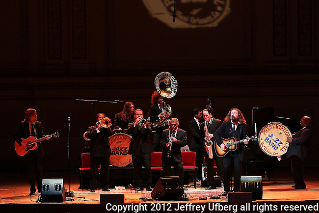 "New York, Jan. 7, 2012: The Preservation Hall Jazz Band and special musical guests including, Allen Toussaint, Steve Earle, Mos Def, Trombone Shorty, Ed Helms, Jim James, My Morning Jacket, George Wein,tao seeger and others perform at ""Carnegie Hall"" on January 7, 2012 in New York City."