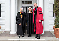 Trustee John Power '58, Ann Kerr-Adams '56 and President Jonathan Veitch<br /> Families, friends, faculty, staff and distinguished guests celebrate the class of 2018 during Occidental College's 136th Commencement ceremony on Sunday, May 20, 2018 in the Remsen Bird Hillside Theater.<br /> (Photo by Marc Campos, Occidental College Photographer)