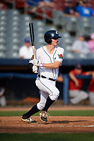 Connecticut Tigers first baseman Jordan Verdon (27) follows through on a swing during a game against the Lowell Spinners on August 26, 2018 at Dodd Stadium in Norwich, Connecticut.  Connecticut defeated Lowell 11-3.  (Mike Janes/Four Seam Images)