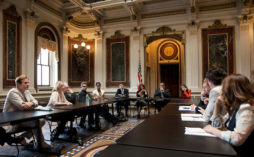 The Creative Coalition members meet with Kareem Dale, White House Arts Liaison - The White House at the Eisenhower Office Building in Washington, D.C.