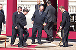 01.10.2012. The Spanish Royal Family, King Juan Carlos, Queen Sofia, Prince Felipe, Princess Letizia and Princess Elena attend the imposition of collective Distinguished Cross San Fernando Al Banner Armored Cavalry Regiment ´Alcántara´ No. 10 in the Royal Palace in Madrid, Spain. In the image operators (Alterphotos/Marta Gonzalez)