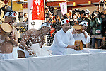 "Kanda Myojin, To, Japan, 2012, January 14 : Forty participants purify oneself by cold water during the the cold-endurance ceremony ""Kanchu-Misogi"" at Kanda Myojin Shrine in Tokyo, Japan, on January 14, 2012. (Photo by AFLO) QUB"