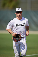Sam Thompson during the WWBA World Championship at the Roger Dean Complex on October 19, 2018 in Jupiter, Florida.  Sam Thompson is an outfielder from Owasso, Oklahoma who attends Owasso High School and is committed to TCU.  (Mike Janes/Four Seam Images)