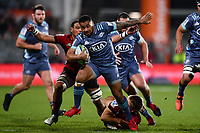 25th July 2020, Christchurch, New Zealand;  Ngani Laumape of the Hurricanes breaks a tackle during the Super Rugby Aotearoa, Crusaders versus Hurricanes at Orangetheory stadium, Christchurch