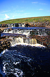 Pretty waterfall rapids, Trout Beck stream, River Tees, Upper Teesdale, Cumbria, England