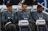 Wolverhampton Wanderers' Ruben Vinagre, Leo Bonatini  and Ivan Cavaleiro on the bench<br /> <br /> Photographer David Horton/CameraSport<br /> <br /> The Premier League - Brighton and Hove Albion v Wolverhampton Wanderers - Saturday 27th October 2018 - The Amex Stadium - Brighton<br /> <br /> World Copyright &copy; 2018 CameraSport. All rights reserved. 43 Linden Ave. Countesthorpe. Leicester. England. LE8 5PG - Tel: +44 (0) 116 277 4147 - admin@camerasport.com - www.camerasport.com