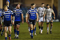 Rhys Priestland of Bath Rugby is all smiles after the match. Premiership Rugby Cup match, between Bath Rugby and Gloucester Rugby on February 3, 2019 at the Recreation Ground in Bath, England. Photo by: Patrick Khachfe / Onside Images