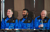Picture By Allan McKenzie/SWpix.com - 05/04/18 - Cricket - Cheteshwar Pujara Press Conference - Aagrah Leeds, Leeds, England - Cheteshwar Pujara at the Aagrah Leeds with Gary Ballance and Andrew Gale.