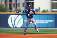 Biloxi Shuckers shortstop Orlando Arcia (2) throws to first during the first game of a double header against the Pensacola Blue Wahoos on April 26, 2015 at Pensacola Bayfront Stadium in Pensacola, Florida.  Biloxi defeated Pensacola 2-1.  (Mike Janes/Four Seam Images)