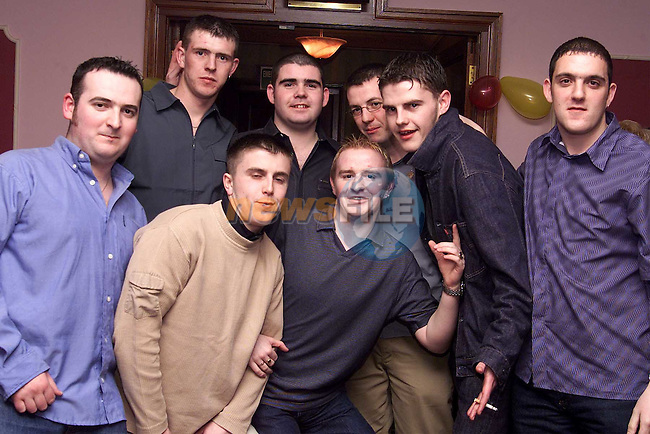Shane Brannigan, David Devlin, Darren O'Brien, David Coyle, Shane Tuohy, Keith Cowley and Trevor McDonald with Joey Brady at his 21st birthday party in the Bridgeford..Picture: Paul Mohan/Newsfile
