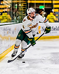 26 January 2019:  University of Vermont Catamount Defenseman Owen Grant, a Sophomore from Ottawa, Ontario, in first period action against the Merrimack College Warriors at Gutterson Fieldhouse in Burlington, Vermont. The Catamounts defeated the Warriors 4-3 in overtime to take both games of their weekend America East conference series. Mandatory Credit: Ed Wolfstein Photo *** RAW (NEF) Image File Available ***