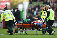 Jonny Arr of Worcester Warriors is stretchered off the field. Aviva Premiership match, between Harlequins and Worcester Warriors on October 28, 2017 at the Twickenham Stoop in London, England. Photo by: Patrick Khachfe / JMP