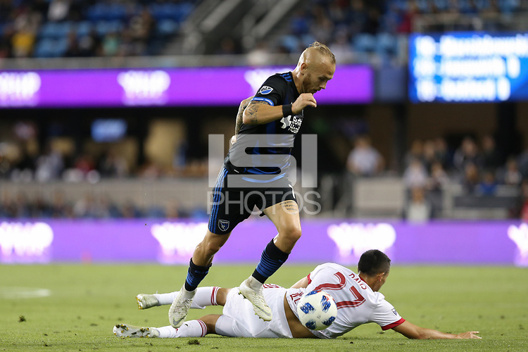 San Jose, CA - Saturday October 06, 2018: Magnus Eriksson, Sean Davis during a Major League Soccer (MLS) match between the San Jose Earthquakes and the New York Red Bulls at Avaya Stadium.