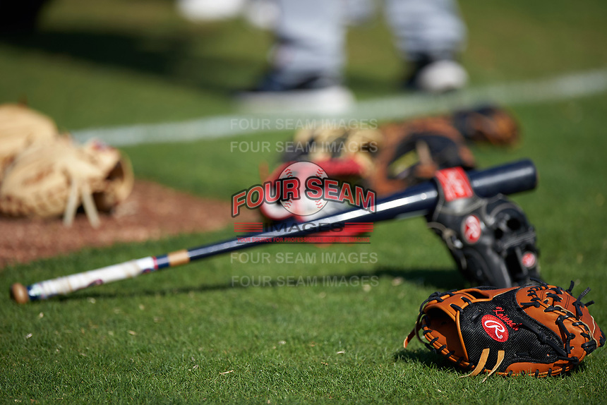 Minnesota Twins gloves and bats on the grass during a Spring Training practice on March 1, 2016 at Hammond Stadium in Fort Myers, Florida.  (Mike Janes/Four Seam Images)