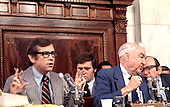 United States Senator Howard Baker (Republican of Tennessee), left, makes a statement as U.S. Senator Sam Ervin (Democrat of North Carolina), Chairman of the U.S. Senate Watergate Committee, right center, listens to counsel Sam Dash, right during the hearings investigating the Watergate break-in during the Summer of 1973 in Washington, D.C.<br /> Credit: Arnie Sachs / CNP