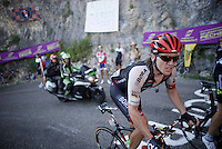 Shane 'The Mullet' Archbold (AUS/Bora-Argon18) up the Lacets du Grand Colombier (Cat1/891m/8.4km/7.6%)<br /> <br /> stage 15: Bourg-en-Bresse to Culoz (160km)<br /> 103rd Tour de France 2016