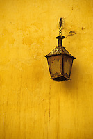 Meknes, Morocco.  Mausoleum of Moulay Ismail.  Old Light on Wall.