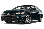 Stock pictures of low aggressive front three quarter view of a 2015 Toyota Camry Se 4 Door Sedan