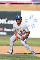 James Baldwin #9 of the Rancho Cucamonga Quakes runs the bases during a game against the High Desert Mavericks at Stater Bros. Stadium on May 27, 2014 in Adelanto, California. High Desert defeated Rancho Cucamonga, 5-4. (Larry Goren/Four Seam Images)