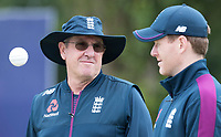 Trevor Bayliss with Eoin Morgan (England) during a Training Session at Edgbaston Stadium on 10th July 2019