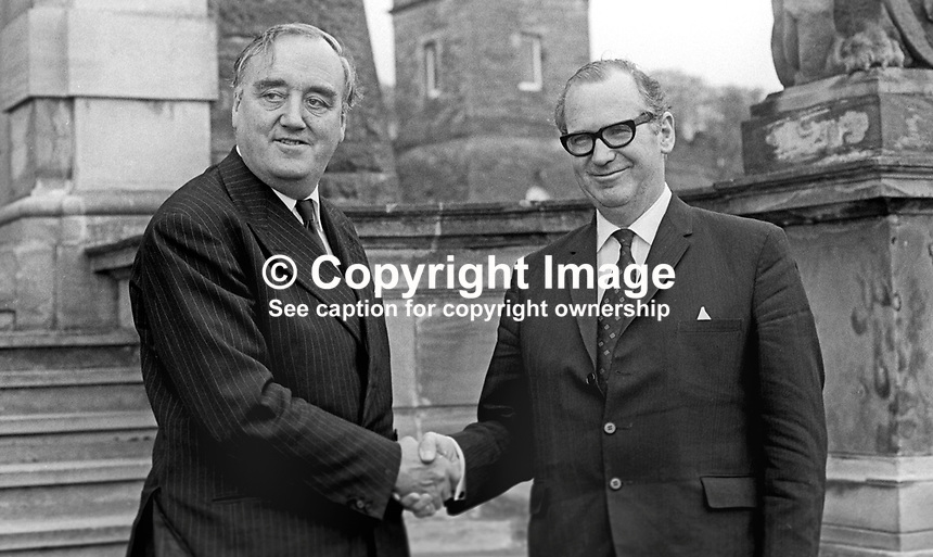 Secretary of State for N Ireland, William Whitelaw, extends a Stormont Castle welcome to the UK EEC Commissioner, George Morgan Thompson, who was on a visit to the Province. 197305250330<br />