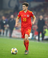 19th November 2019; Cardiff City Stadium, Cardiff, Glamorgan, Wales; European Championships 2020 Qualifiers, Wales versus Hungary; Daniel James of Wales - Editorial Use
