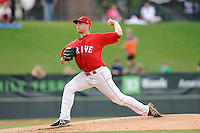 Pitcher Jalen Beeks (20) of the Greenville Drive in a game against the Augusta GreenJackets on Thursday, June 11, 2015, at Fluor Field at the West End in Greenville, South Carolina. Greenville won, 10-1. (Tom Priddy/Four Seam Images)