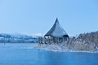 Replica Crannog historic structure on Llangorse lake, Brecon Beacons naitonal park, Wales